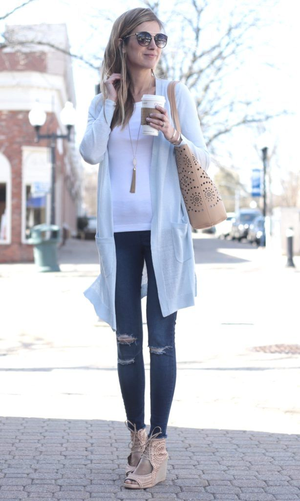 spring outfit idea: long cardigan with jeggings and white fitted tee