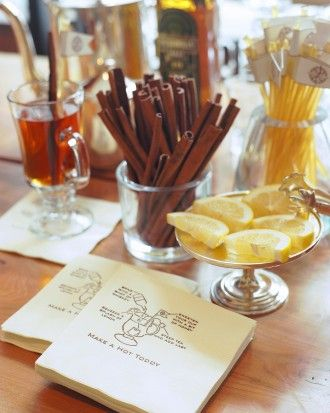 Hot Toddy Station: serve up this classic steamy cocktail to warm guests after a chilly outdoor walk from the ceremony to the reception site.