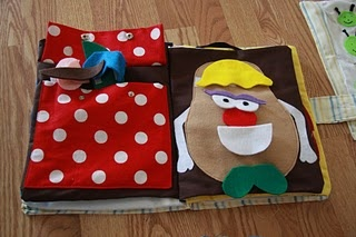 """""""How to Make a Quiet Book"""" - I soooo want to make one of these for Elyse, but I need patterns that don't require sewing...  (LOVE the Mr. Potato Head idea!)"""