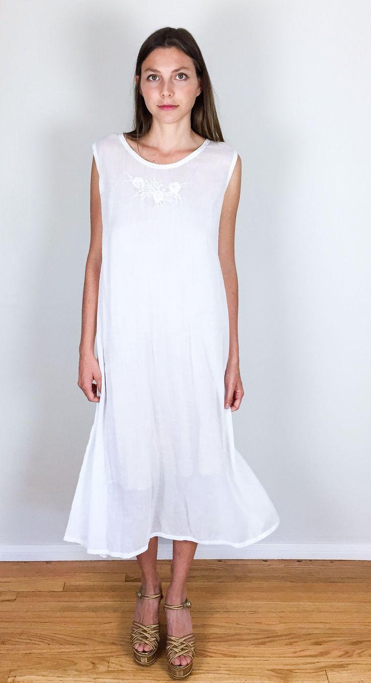 Long Sheer White 1930's Nightgown
