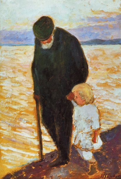 Hugo Simberg (Finnish, 1873-1917) - Old Man and Child