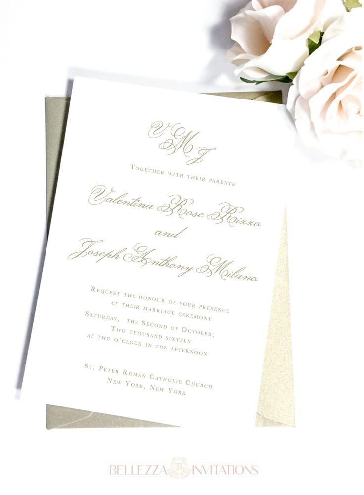 Simple Elegant Gold Wedding Invitations, Simple Elegant Wedding Invitations, Ivory Wedding Invitations, Classic Elegant Wedding Invitations by BellezzaInvitations on Etsy