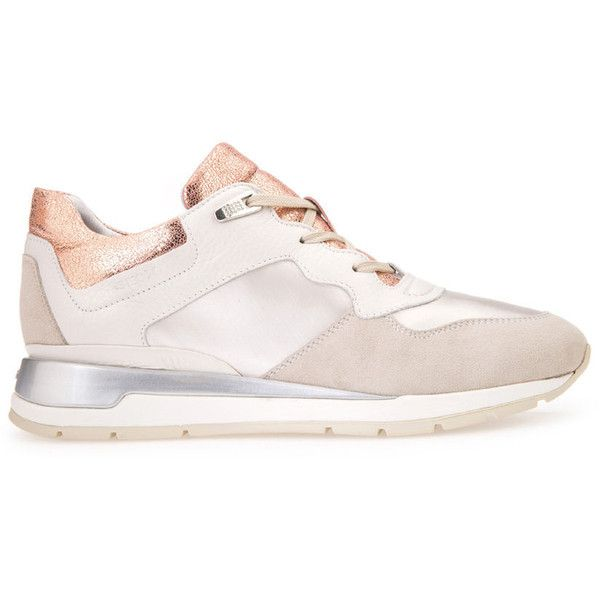 Geox Shahira (6.370 RUB) ❤ liked on Polyvore featuring shoes, sneakers, off white and beige, trainers, geox shoes, beige sneakers, champagne shoes, geox and geox footwear