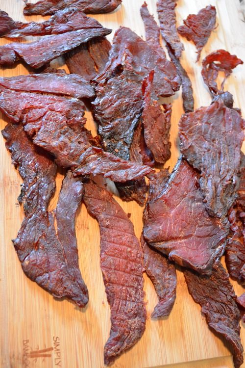 Teriyaki Beef Jerky Recipe  2lbs London Broil or Carne Asada Thinly Sliced 1/2 Cup Soy Sauce 1/4 Cup Mirin 2 tbs Sugar 3 Coins Fresh Cut Ginger 1/2 tsp Onion Powder 1 Clove crushed Garlic 1/2 tsp Black Pepper Mix ingredients together and marinate for 24 hrs Smoke 170-180 4-5 hours depending on the thickness place in a ziplock over night in the refrigerator