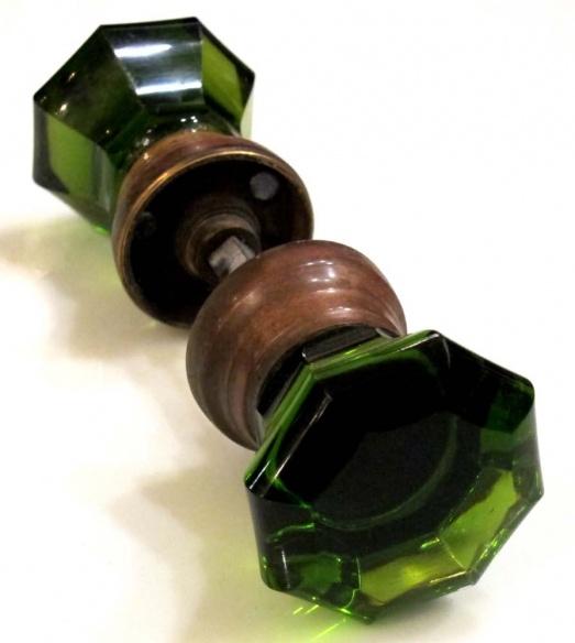 Antique green glass doorknobs