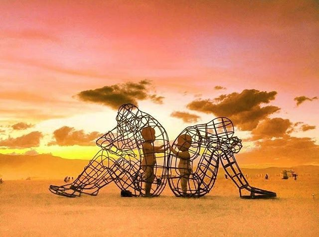 One of the most powerful art pieces from Burning Man: A sculpture of two adults after a disagreement, sitting with their backs to each other. Yet, the inner child in both of them simply wants to connect. Age has many beautiful gifts but one we could live without is the pride and resentment we hold onto when we have conflicts with each other. The forgiving, free spirit of children is our true nature. Remember this when you feel stubborn ❤️