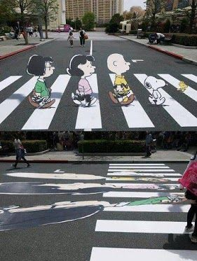 3d art. Super cool illusion to slow down drivers.