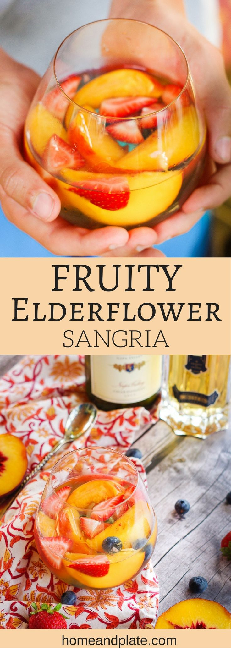 Fruity Elderflower Sangria   Summer's freshest fruits and elderflower liqueur are the stars of this fruity summer sangria spritzer.   www.homeandplate.com