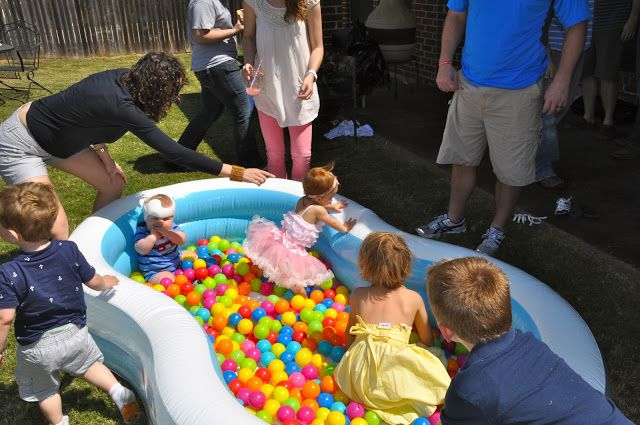 First birthday party activities -- balls in a kids pool or pack n play