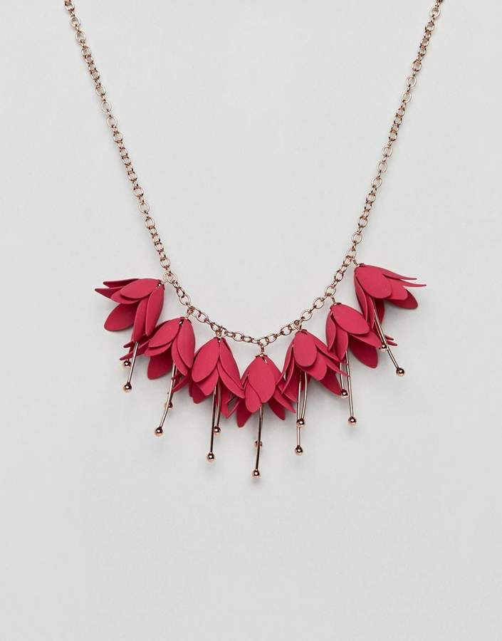 Ted Baker Fawna Fuchsia Drop Flower Necklace