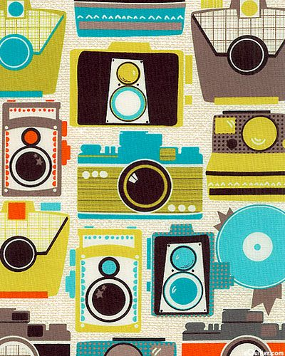 'Cameras' from the 'Mod Guys' collection by Michael Miller Fabrics.