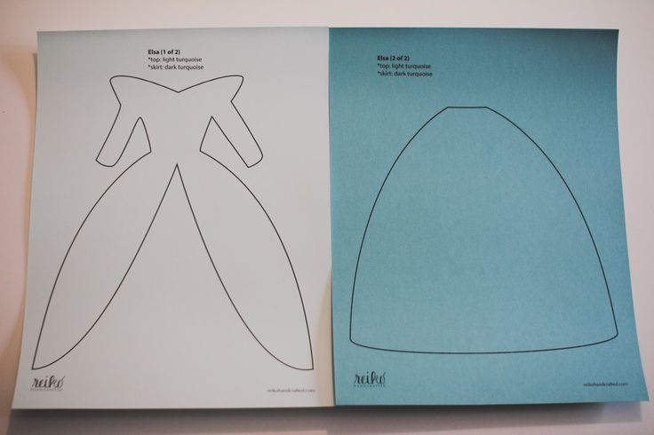 8.5 x 11 inch paper dress template for Elsa from Disney's Frozen