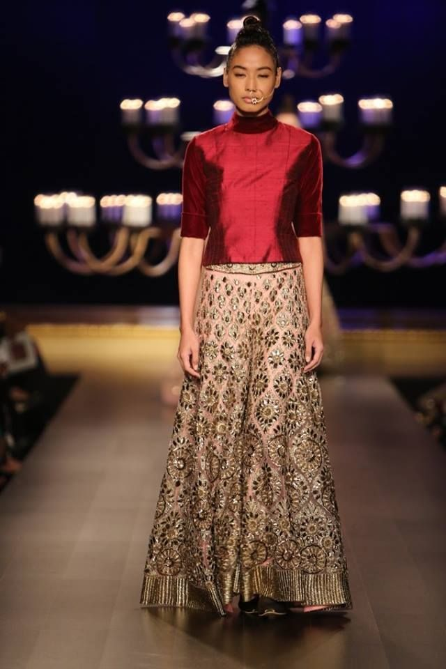 Manish Malhotra at India Couture Week 2014 - red silk blouse with gold and peach lehnga