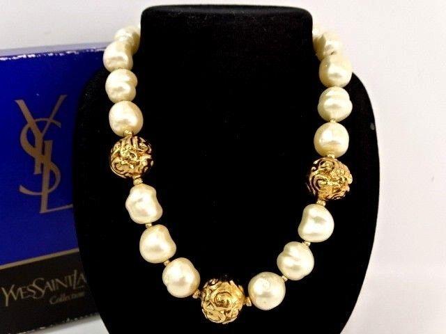 3e771161c8c Auth YVES SAINT LAURENT YSL Vintage Necklace Faux Pearl Gold Tone  13150581800 CG (eBay Link)