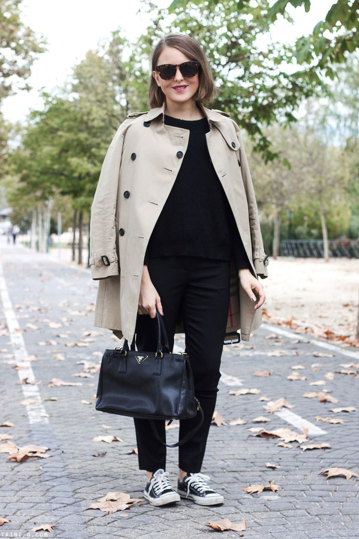 Trini   Celine sunglasses Burberry trench The Kooples sweater The Kooples trousers Prada bag Converse sneakers all black outfit