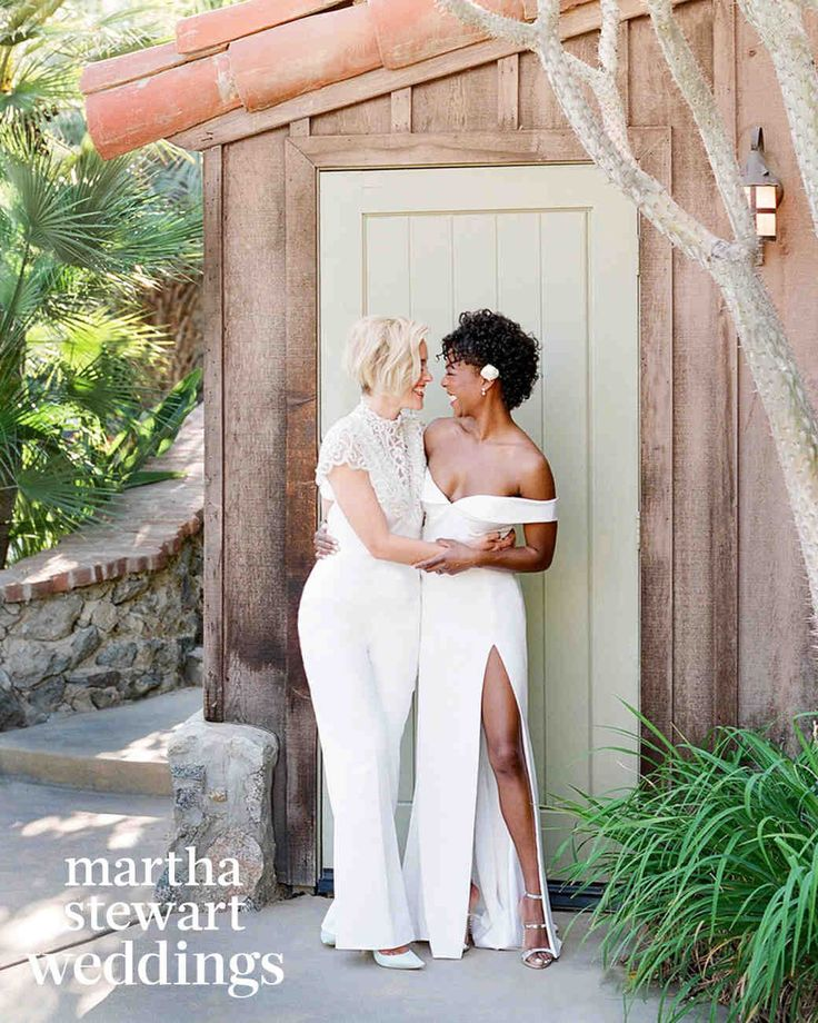 Exclusive: See Samira Wiley and Lauren Morelli's Incredible Wedding Photos | Martha Stewart Weddings - The newlyweds were all smiles while stealing a few minutes together before entering the reception.