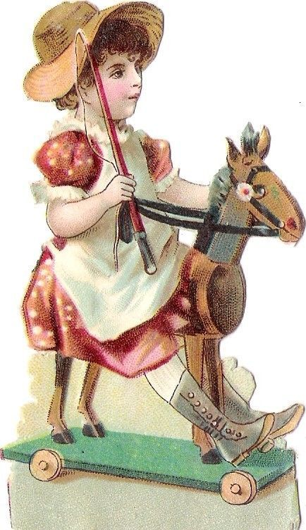 Oblaten Glanzbild scrap die cut chromo Kind child  Schaukel pferd rocking horse