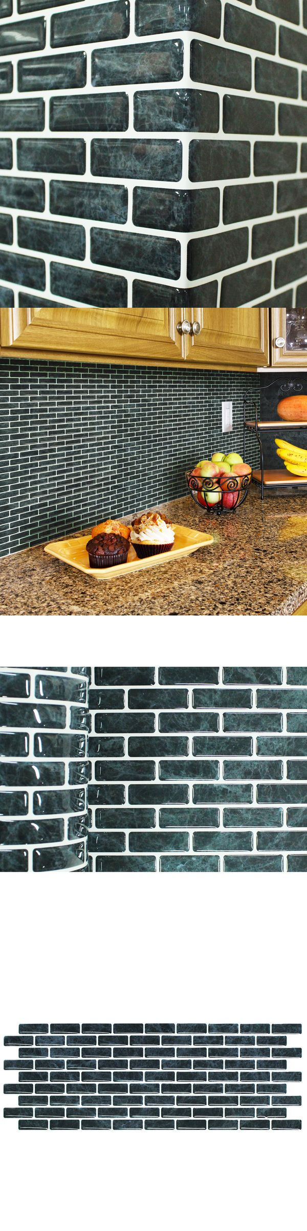 Floor and Wall Tiles 45800: Self Adhesive Wall Tiles Peel And Stick Backsplash Kitchen Black Wallpaper 4Pc -> BUY IT NOW ONLY: $38.92 on eBay!
