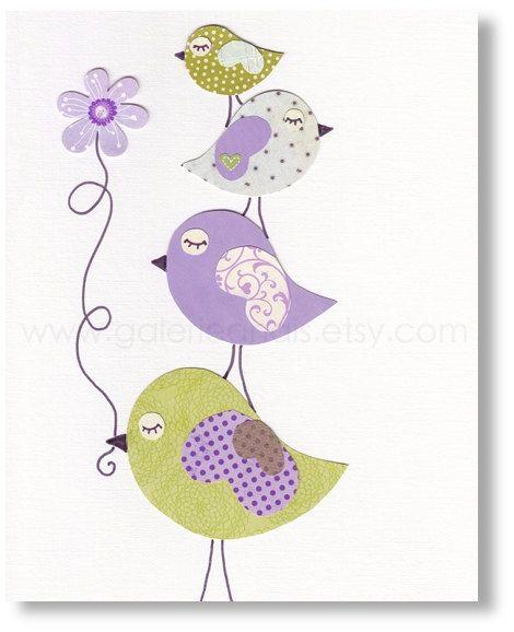 Art for children - nursery art prints - baby nursery decor - kids wall decor - nursery wall art - Purple - Birds - Douceurs 8x10 print