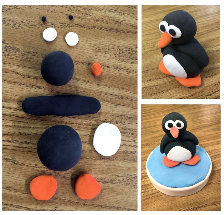 How to make a Model Magic penguin. PDF diagram included. #modelmagic #penguin