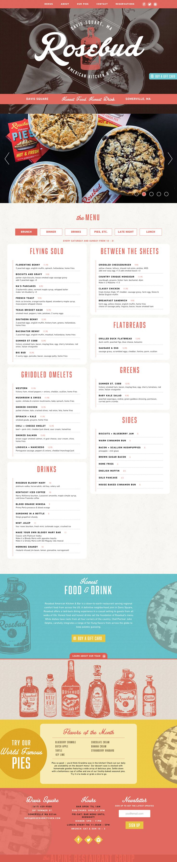 """Responsive One Pager for the 'Rosebud' American kitchen & bar based in Somerville, Massachusetts. The second """"rose red"""" color bar feels strange as the header/nav bar is same color but overall a good blend of big images, textures and vintage illustrations. Quite impressed with the food menu adaption on all resolutions down to mobile. Good to know it's built on WordPress:)"""