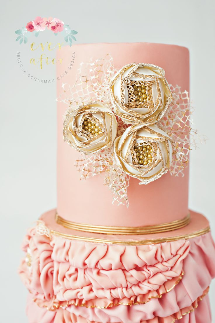 @everaftercake Pink Flapper Cake - Close up of the sugar flowers outlined in lace and nestled in russian netting.