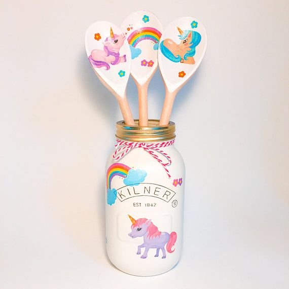 Vintage Unicorn Kilner Jar • decorative jar• wedding centrepiece • nursery decor • gift for her• wooden spoons •