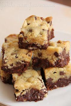 """Hmmm des brownies-cookies ... J'appellerai sa des """"BROOKIES"""" !!! XDXDXD . En tout cas sa a l'air délicieux ."""