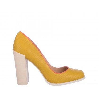 Pantofi galbeni Epica, din piele naturala
