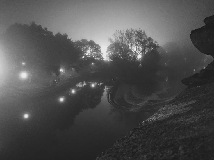 Misty night in Bath, UK.
