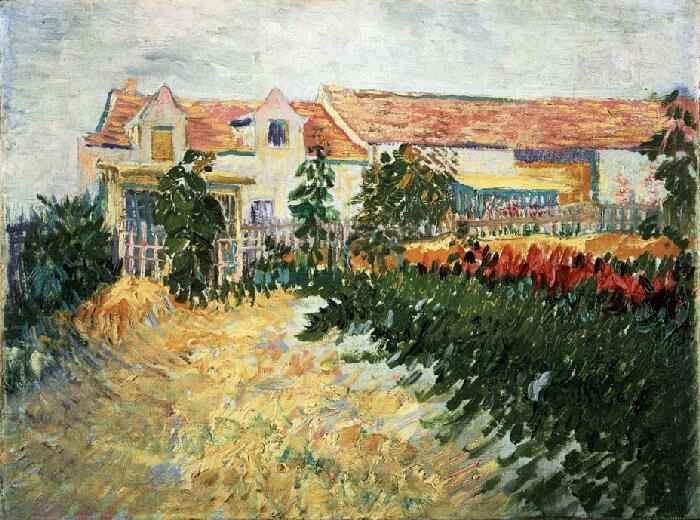 Vincent van Gogh: House with Sunflowers. Oil on canvas. Paris: Summer, 1887. United States: Private collection.