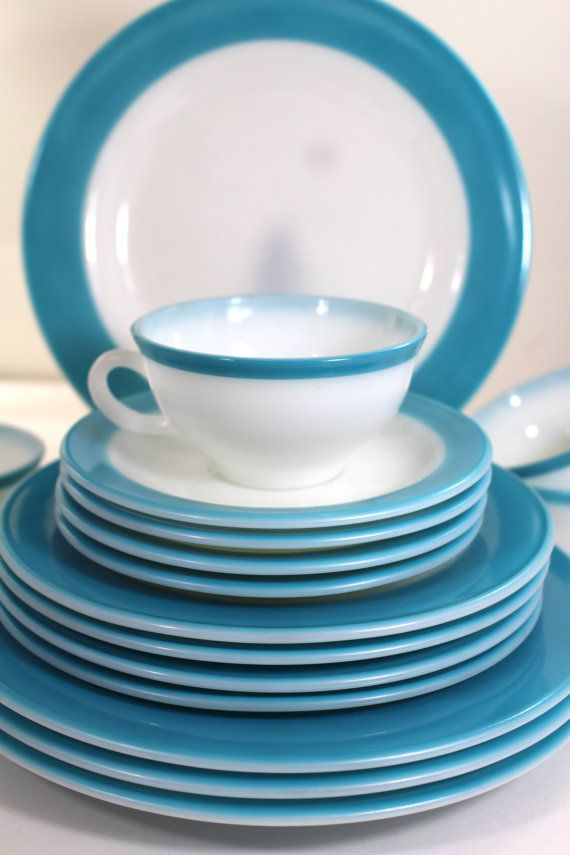 Turquoise Pyrex vintage dinnerware set for four by Hallingtons