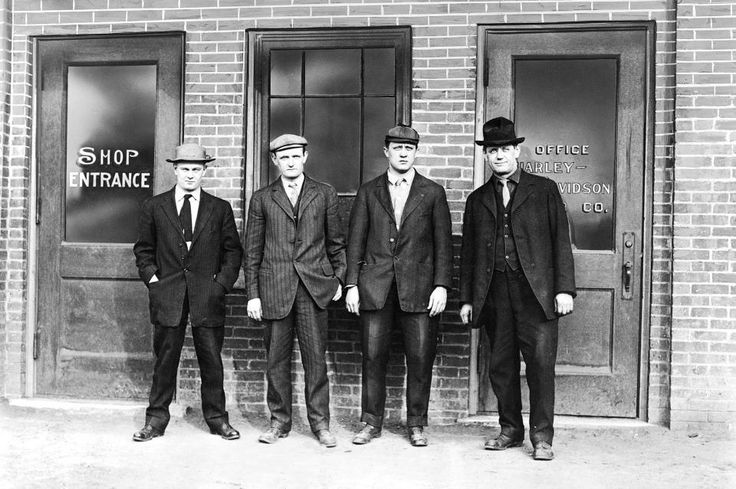 From the archives: Harley-Davidson founders (L-R) in 1912: Arthur Davidson, Walter Davidson, William S. Harley and William A. Davidson. 110 years ago - amaz   #Arthur Davidson #Founders #Harley-Davidson #Walter Davidson #William A. Davidson #William S. Harley