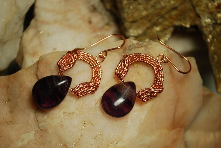 Fluorite and copper Nicole Hanna style earrings by Angelina Croft