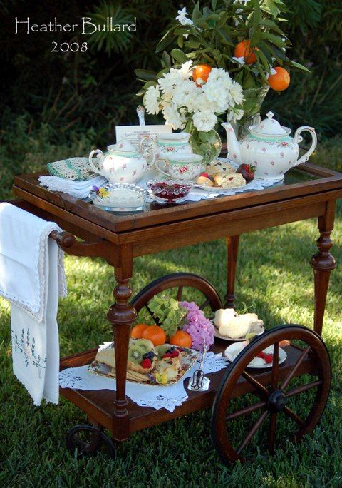 Tea Cart Service, with heart shaped scones. Bring on the spring!