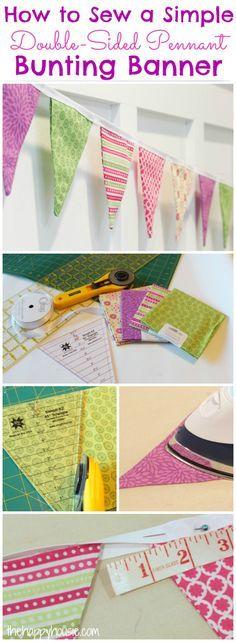 Usted puede coser su propio banderín con esta fácil tutorial sobre cómo coser un sencillo banderín bandera de doble cara Bunting en thehappyhousie.com