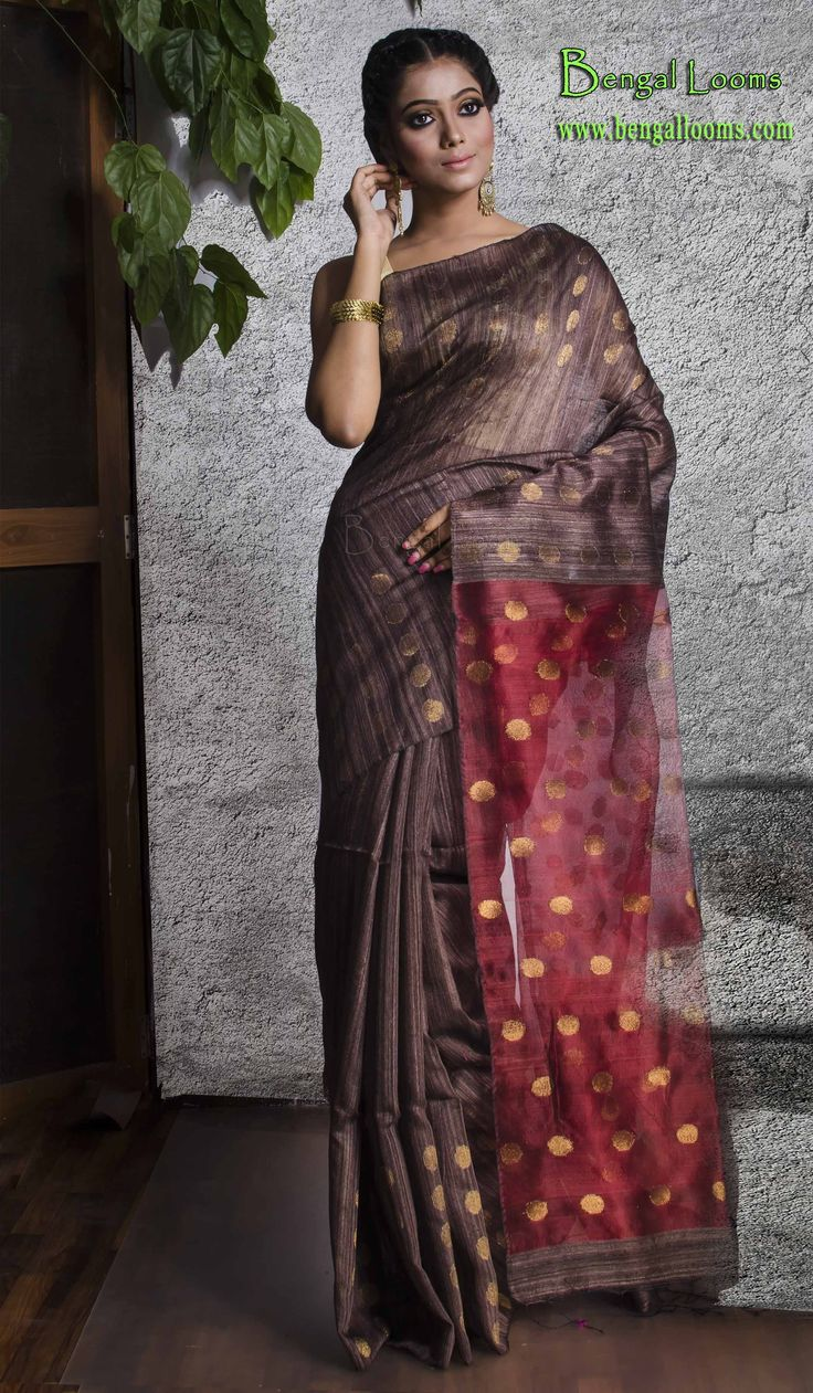 Contemporary Matka Silk Saree in English Brown and Red