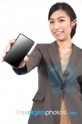 Business Woman Showing Cell WOW