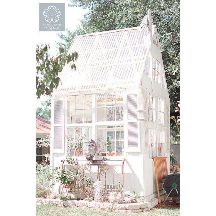 White greenhouse made with vintage  windows
