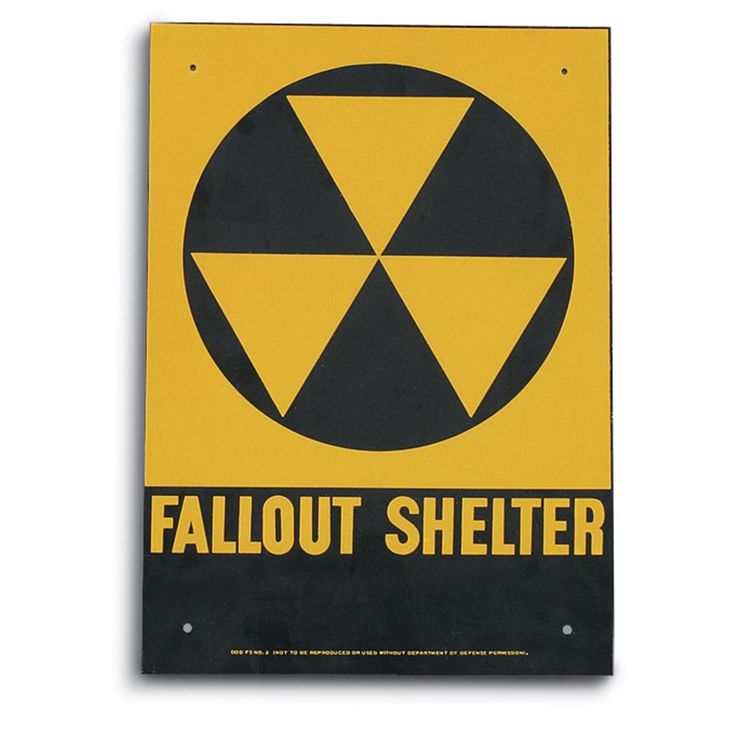 Cold War Era Fallout Shelter Sign.