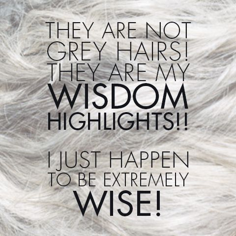 """They are not grey hairs! They are my wisdom highlights!! I just happen to be extremely wise!"" 