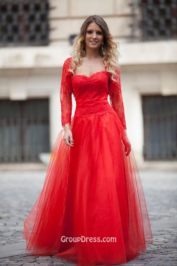 Red Cap Sleeve Prom Dresses ,Red Long Chiffon Prom Dress With Cap