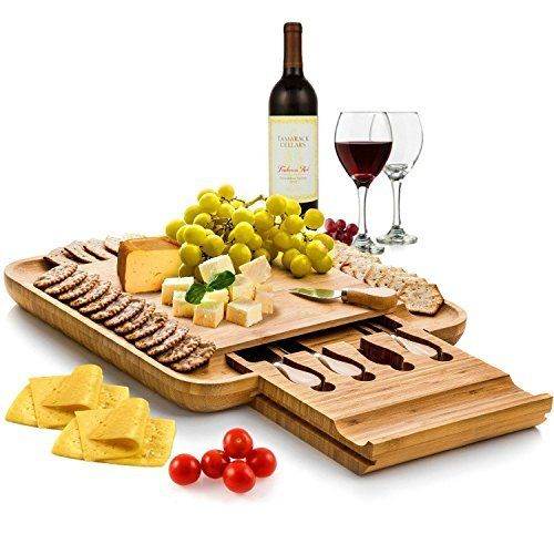 Gorgeous Bamboo Cheese Board & Cutlery Set With Slide Out Drawer Wedding Gift