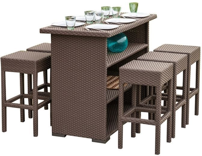 Patio Furniture Pub Table Dining Set 7 Piece Counter Height Wicker For 6  Persons #PatioFurniturePubTable