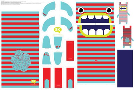 Hungry Monster Laundry Bag: Red/Turquoise fabric by sammyk on Spoonflower…