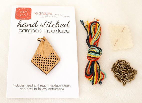 DIY Cross Stitch Necklace Wood Bamboo Pendant by RedGateStitchery