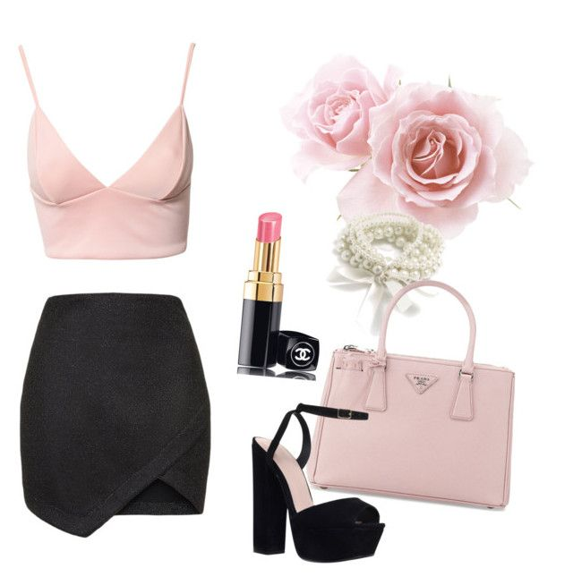 Chanel 1 by hannah-elling on Polyvore featuring polyvore, fashion, style, Dark Pink, Topshop, KG Kurt Geiger, Prada and Chanel