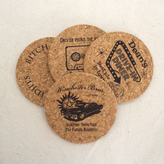 Supernatural Themed Cork Coaster - Set of 4