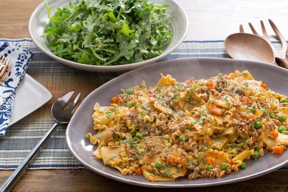 Pork Bolognese & Mafalda Pasta with English Peas & Arugula Salad. Visit https://www.blueapron.com/ to receive the ingredients.