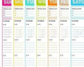 Printable Blank Weekly colorful 7 column Calendars ...